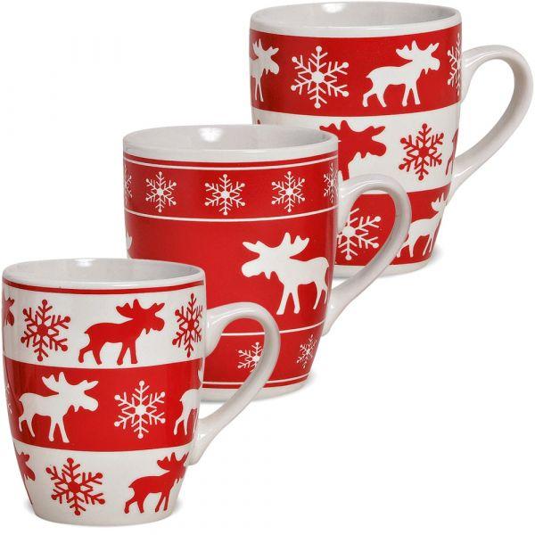 Tassen Becher 3er Set Kaffeetassen Elchdekor 10 cm / 300 ml rot / weiß Keramik