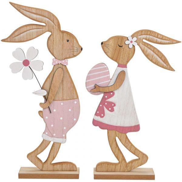 Osterhasen Hasenfiguren Hasenpaar Ostern Holz Deko Figuren Osterdeko 2er Set 40 cm