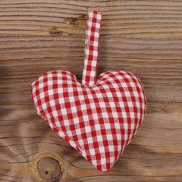 Stoff Herz Dekohänger Landhaus GERTI weiß rot kleinkariert Stoffherz 10x10 1 Stk