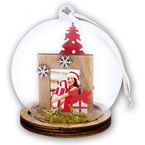 Foto Hänge-Fotokugel Bilderrahmen Weihnachten GESCHENK & CHRISTBAUM Ø 9x12 cm