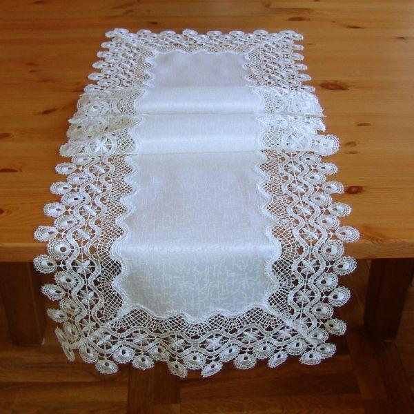Tischläufer Mitteldecke Jacquard Spitze champagner Tischwäsche 40x140 cm 1 Stk
