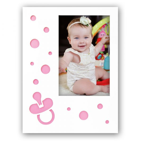 Bilderrahmen Rahmen Baby Kind Holz rosa gestanzte Kreise & Schnuller 10x15 cm