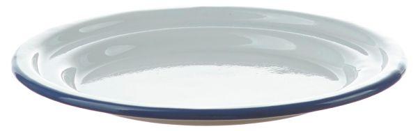 Kleiner Email Teller / Dessertteller weiß Emaille Geschirr 18x2,5 cm