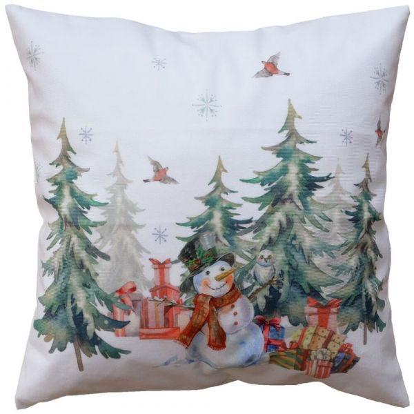 Kissenhülle Heimtextilien Weihnachten Schneemann Wald weiß Druck bunt 40x40 cm
