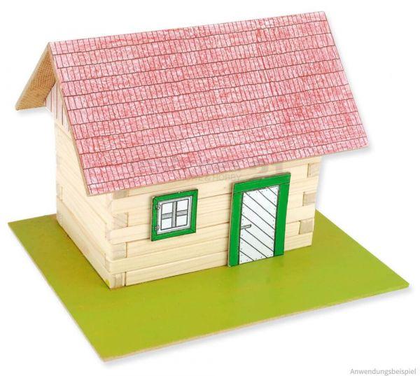 Blockhaus mit Dachkonstruktion Holz Bausatz Kinder Werkset - ab 10 Jahren
