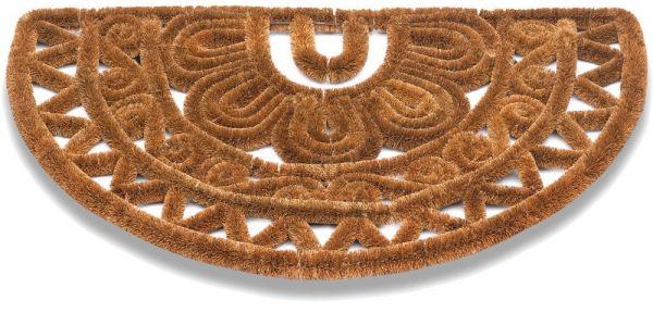 Kokos Fußmatte Kokosmatte Drahtgittermatte halbrund Ethno Muster 1 Stk - 45x75 cm