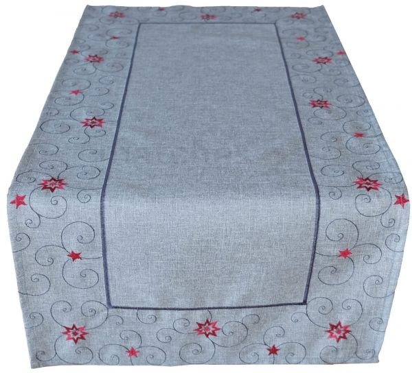 Mitteldecke Tischläufer Sterne Weihnachten hellgrau Stick grau / rot 40x85 cm