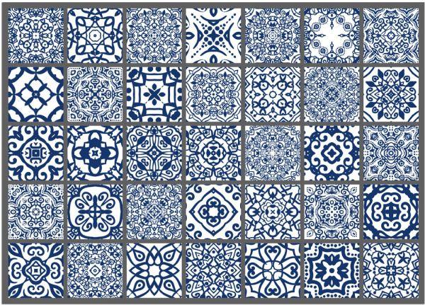 Fußmatte Fußabstreifer DECOR Fliesen Kacheln Retro blau weiß waschbar 50x70 cm