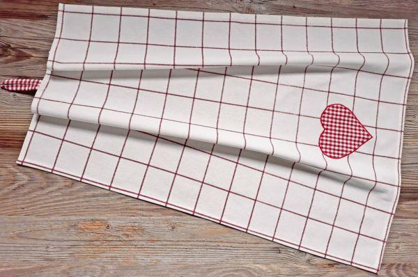 Geschirrtuch Landhaus Premium GERTI weiß rot kariert Herz 50x70 cm