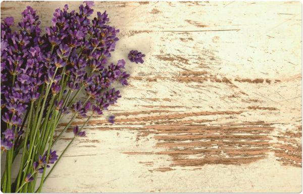 Tischset Platzset MOTIV Lavendel Blüten auf Holz weiß Vintage 1 Stk. Abwaschbar