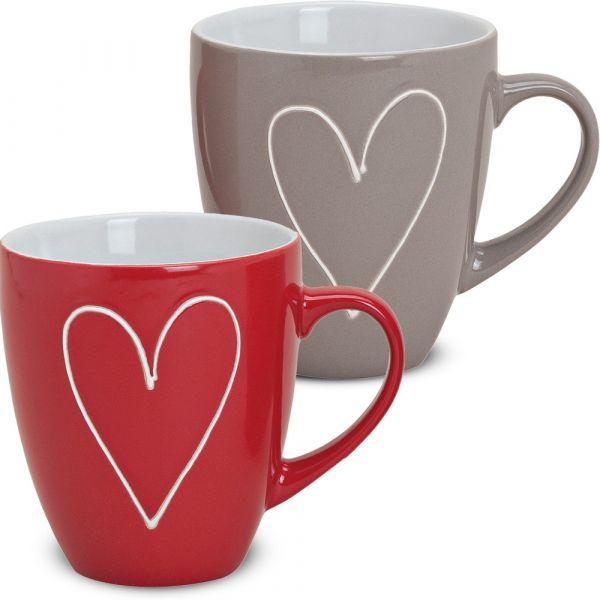 Tasse Becher Herzen Herzdekor rot / grau 1 Stk. B-WARE Keramik 11 cm / 400 ml