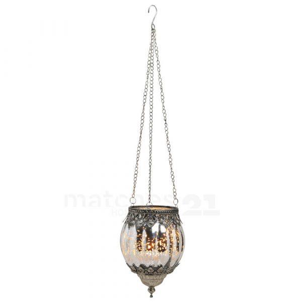 Teelichtglas hängend Orient Windlicht silber antik Glas & Metall – 2 Größen