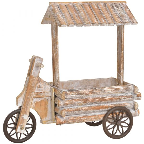 Dreirad mit Dach Pflanzgefäß Blumentopf Pflanz-Deko Rustikal Holz 16x40x42 cm