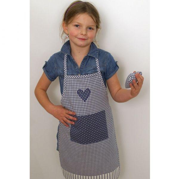 Latzschürze Kinder Schürze Landhaus Premium LINA Herz Tasche 60x40 blau