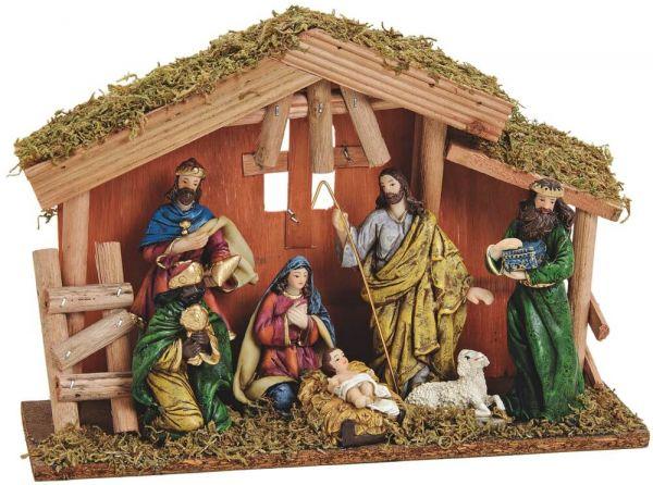 Weihnachtskrippe Krippe Stall & 7 Figuren – Weihnachtsdeko 1 Set 30x10x21 cm