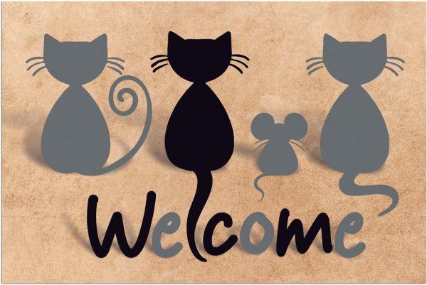 Fußmatte Fußabstreifer DECOR schwarze Katzen & Welcome braun waschbar 40x60 cm