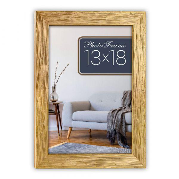 Bilderrahmen Holzrahmen Wechselrahmen Fotorahmen Holz gold mit Struktur 10x15 cm