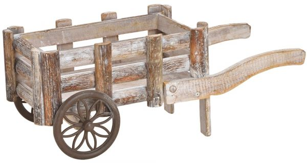 Karre Leiterwagen Pflanzgefäß Blumentopf Pflanz-Deko Rustikal Holz 17x42x17 cm