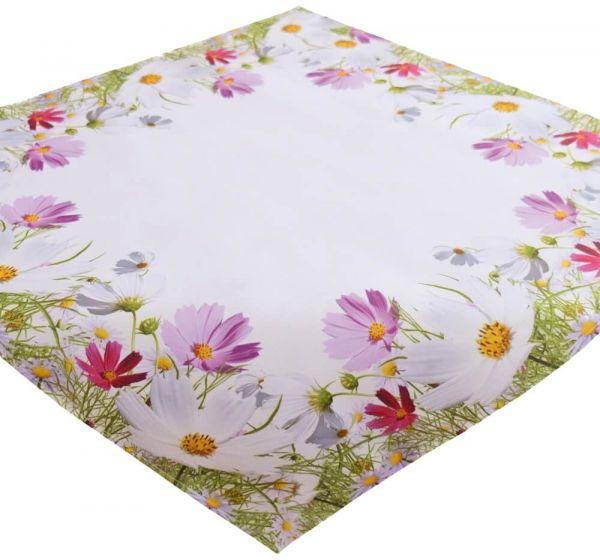 Tischdecke Mitteldecke Blumenwiese Blumen Frühling weiß Druck bunt 85x85 cm