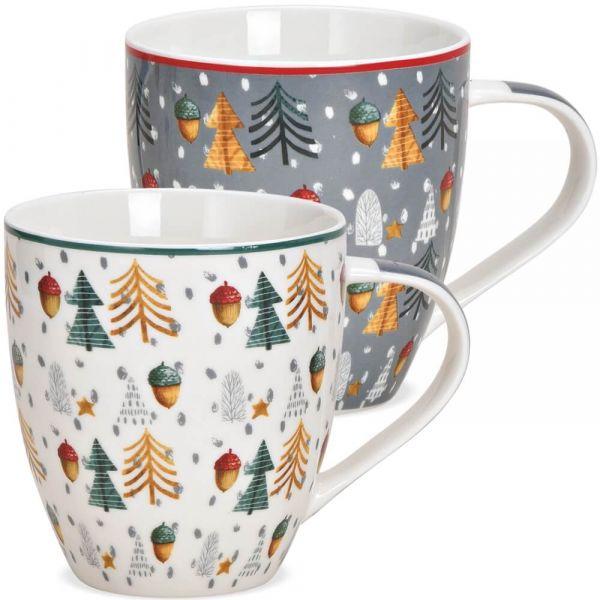 Jumbo Tassen Weihnachtstassen Bäume & Eicheln weiß & grau Porzellan 2er Set 10cm