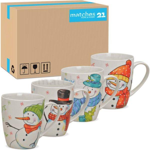 Tassen Weihnachtstassen Porzellan Schneemänner Let it snow 48 Stk je 300 ml