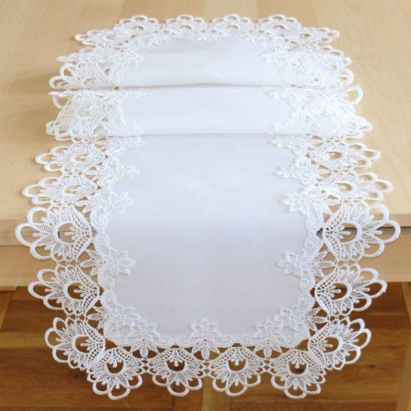 Tischläufer Mitteldecke Stickerei Spitze wollweiß Tischwäsche 40x110 cm 1 Stk