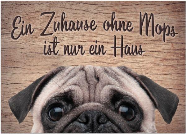 Fußmatte Fußabstreifer DECOR Mops Hund Spruch Zuhause lustig waschbar 50x70 cm