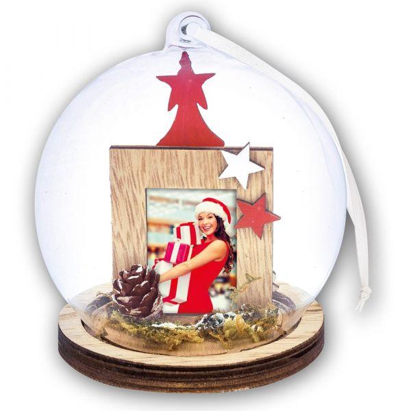 Foto Hänge-Fotokugel Bilderrahmen Weihnachten ZAPFEN & STERNE 1 Stk Ø 13,5 cm