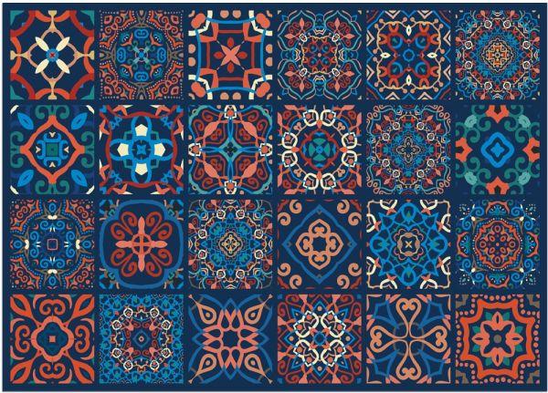 Fußmatte Fußabstreifer DECOR Fliesen marokkanisch blau orange waschbar 50x70 cm