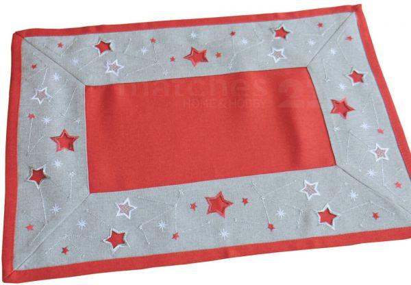 Tischläufer / Mitteldecke rot / hellgrau & Sternen-Bordüre silber Stick 35x50 cm