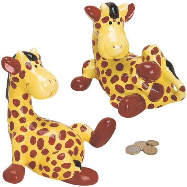 Spardose Giraffe – 2 Ausführungen - Keramik Sparschwein in Box – je 18 cm