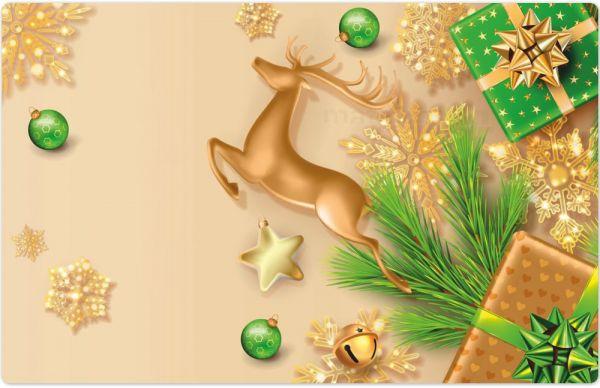 Tischset Platzset MOTIV Weihnachten Hirsch Sterne gold & grün 1 Stk. Abwaschbar