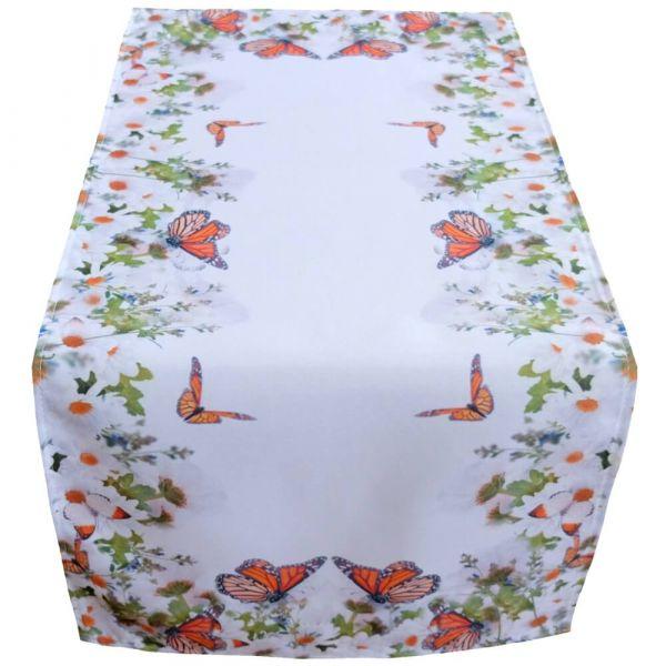 Tischläufer Mitteldecke Schmetterlinge Frühling weiß Foto Druck bunt 40x90 cm