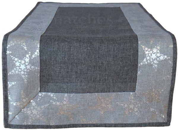 Tischläufer dunkelgrau & Sternen-Bordüre silber glänzend Weihnachten 40x85 cm