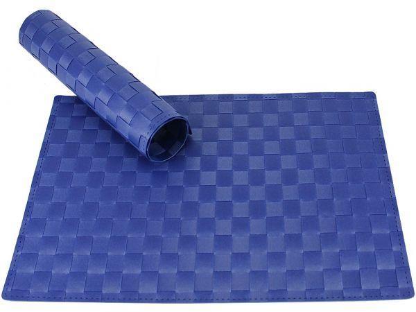 Tischset Platzset MODERN blau geflochten Kunststoff 1 Stk. 45x30 cm