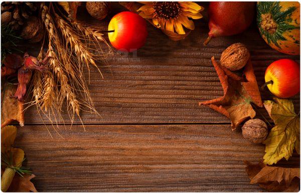 Tischset Platzset MOTIV Herbst Obst auf Holz 1 Stk. abwaschbar