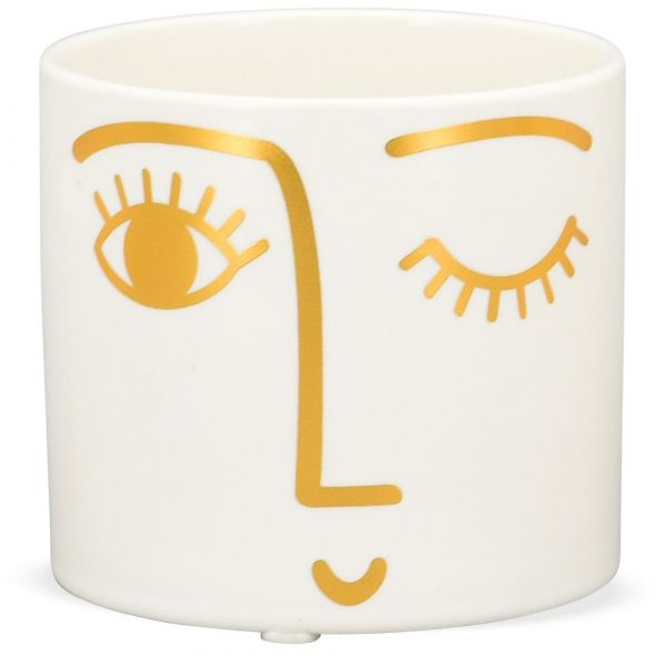 Blumentopf Pflanztopf Übertopf gold Gesicht zwinkerndes Auge Keramik Ø 10x9 cm