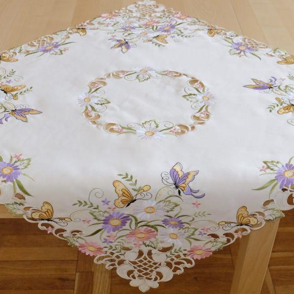 Tischdecke Mitteldecke Schmetterlinge Blumen Zierkante Stick bunt 85x85 cm