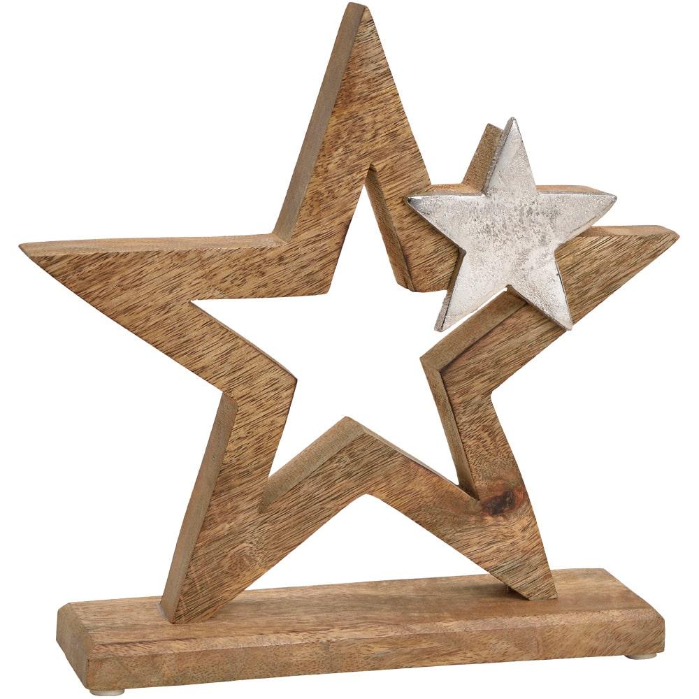 17 cm Stern Holz /& Metall Dekofigur Skulptur Weihnachten silber braun 1 Stk