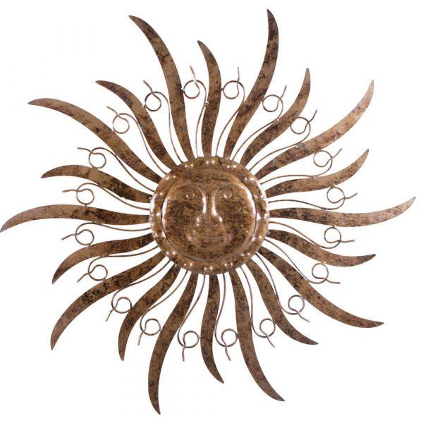 Wandhänger Sonne Gesicht Metall braun Wandschmuck Deko Wanddeko 1 Stk - Ø 48 cm