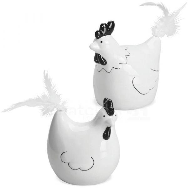 Hühner mit Federn Ostern Deko Frühling Porzellan weiß schwarz 2er Set sort 13 cm