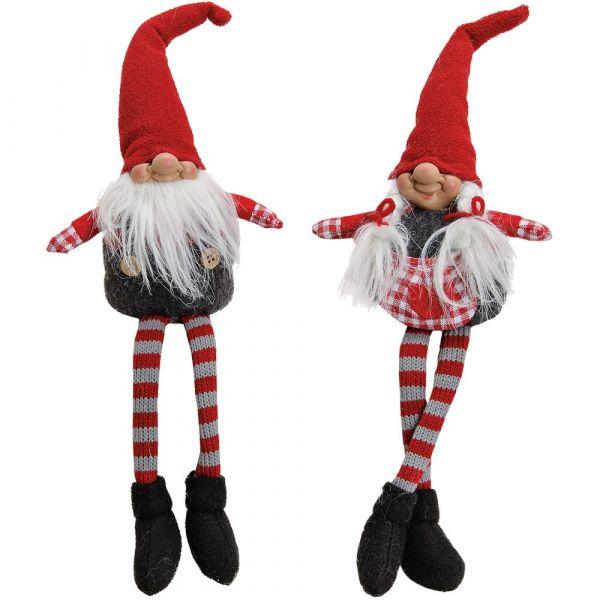 Wichtel Kantenhocker Deko Figuren Weihnachten grau / rot 2er Set sort 22 / 36 cm