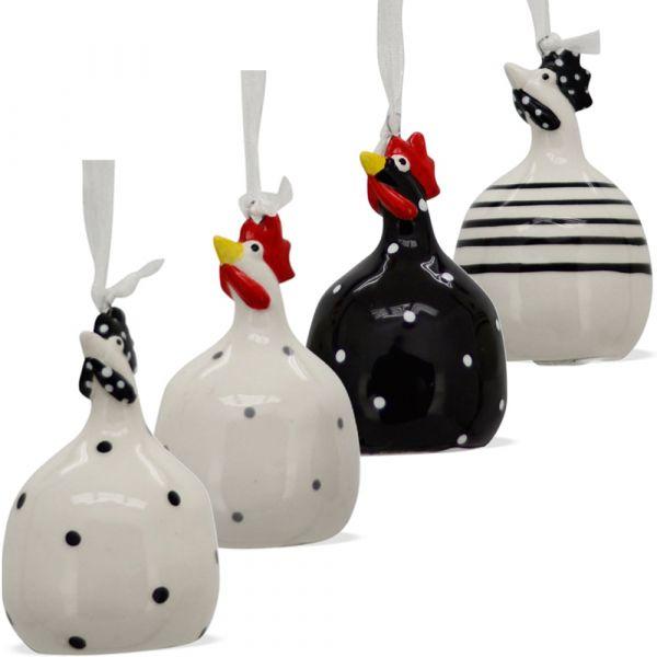 Hühnerfiguren Dekohänger Hühner Osterdeko Aufhängen schwarz / weiß je 7 cm