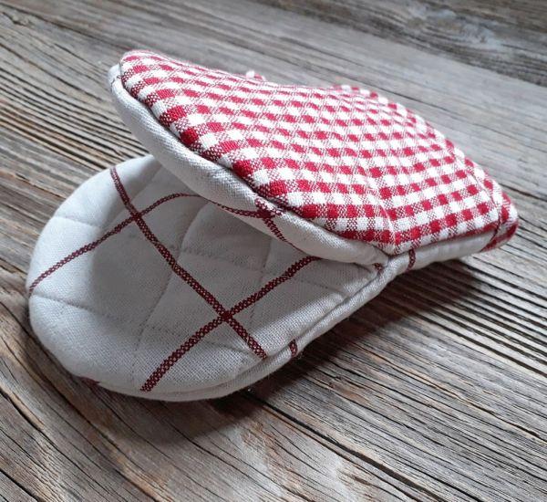 Topfhandschuh Landhaus GERTI weiß rot Karo Mini Ofenhandschuh 12x16 cm 1 Stk
