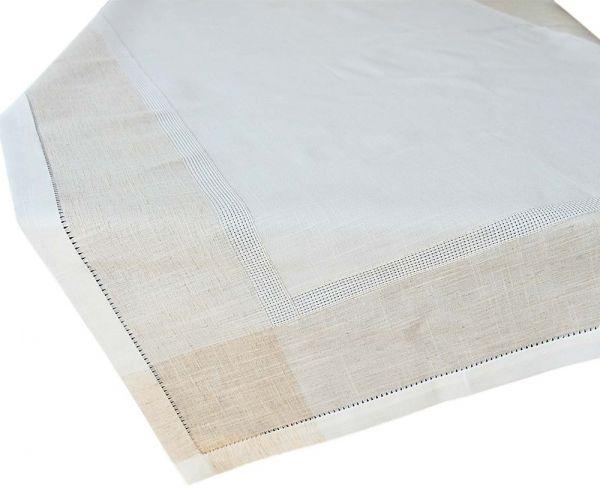 Tischdecke Tischtuch Leinenoptik & Hohlsaum Tischwäsche wollweiß ecru 110x140 cm