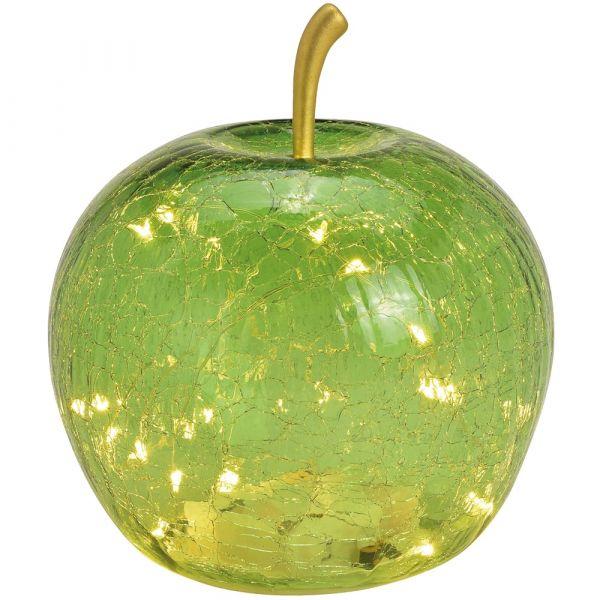 Apfel & 20er LED Licht & Timer Dekoapfel Glas dunkelgrün 1 Stk Ø 16 cm