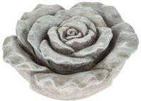 Rose Dekorose Grabschmuck Grabdeko Gartendeko grau Polyresin 1 Stk Ø 9x4,5 cm 13.5 cm