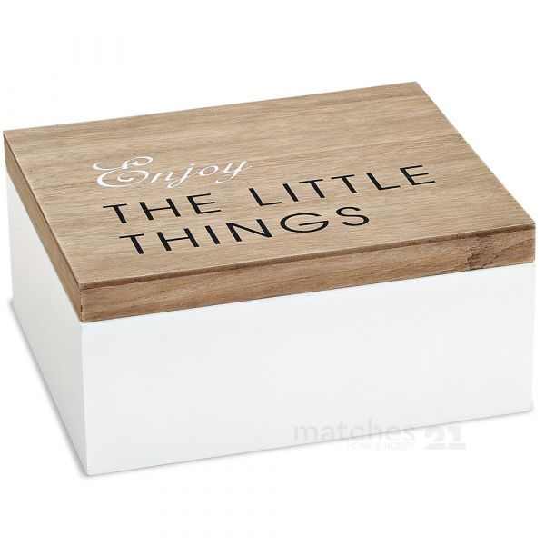 Holzbox Holzkiste Aufbewahrungsbox weiß / natur mit Deckel 22x18x10 cm