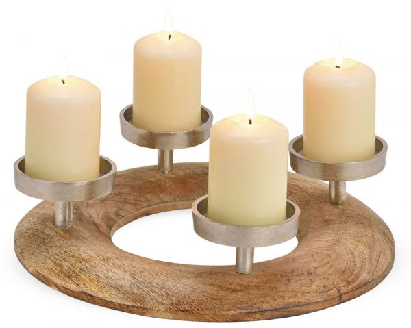 Adventskranz Gesteck Kerzenhalter Holz Metall silber Weihnachten Advent Ø 30 cm