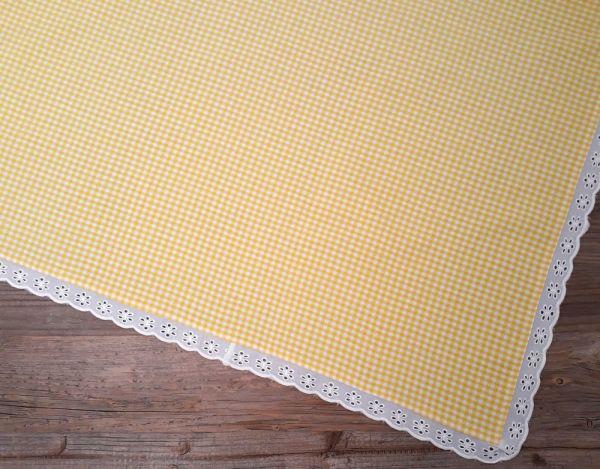 Mitteldecke Tischdecke Landhaus Premium HANNE kariert 100x100 cm gelb
